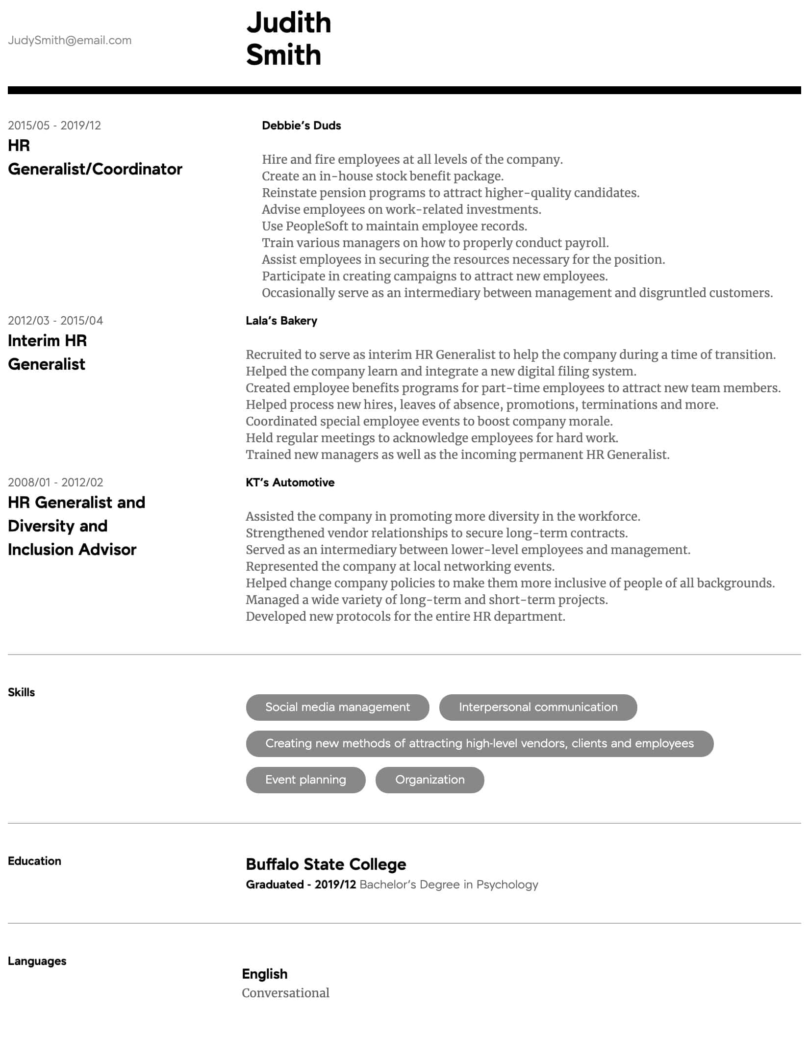 hr generalist resume samples all experience levels diversity manager intermediate process Resume Diversity Manager Resume