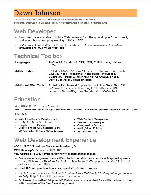 if your web sites sizzle but resume fizzles check out this sample for an entry level Resume Web Developer Resume Entry Level