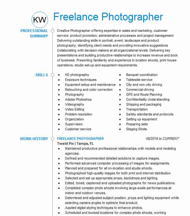 independant freelance photographer resume example photography for beginners chemical Resume Photography Resume For Beginners
