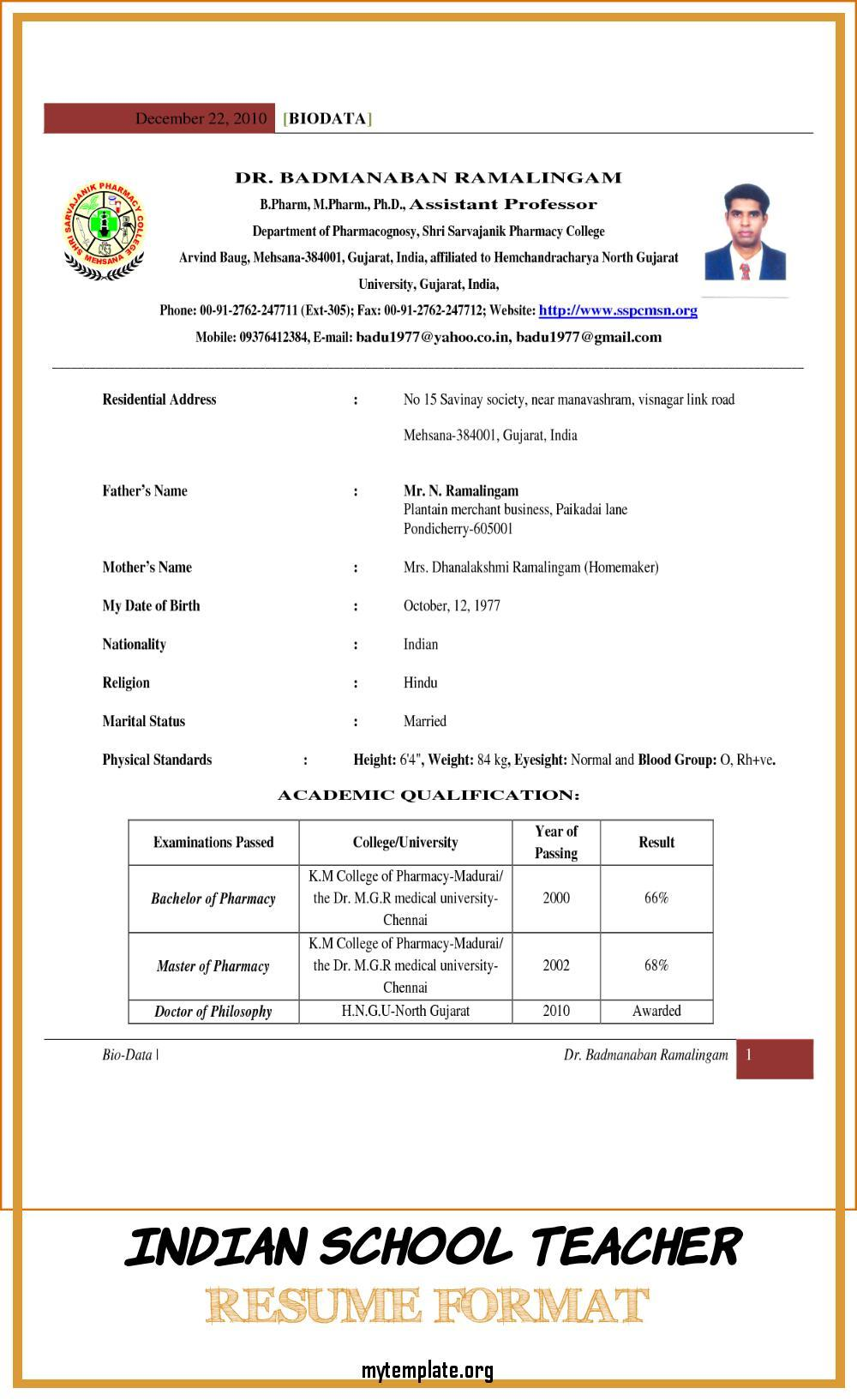 indian school teacher resume format free templates for of pin personal references on Resume Resume Format For Teacher