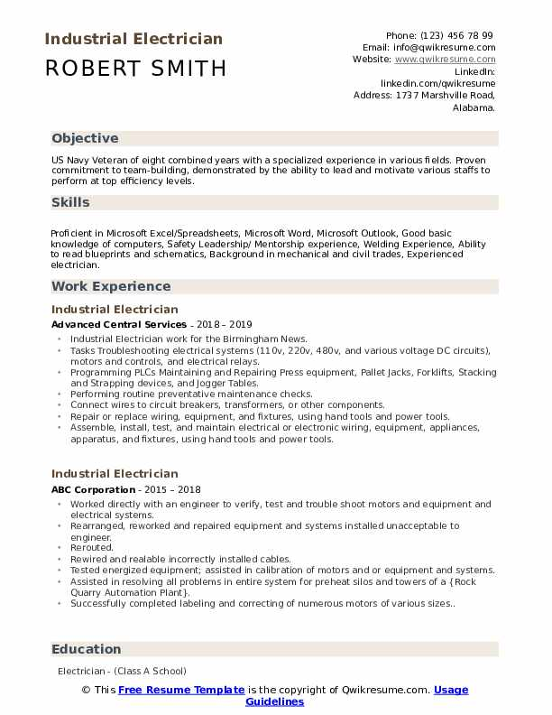 industrial electrician resume samples qwikresume template microsoft word pdf concrete Resume Electrician Resume Template Microsoft Word