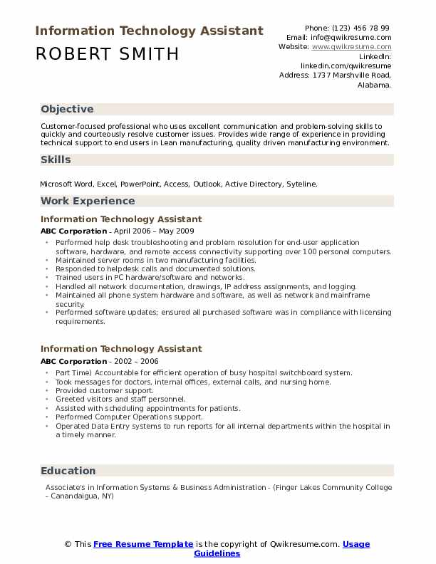 information technology assistant resume samples qwikresume objectives and goals pdf Resume Information Technology Objectives And Goals Resume