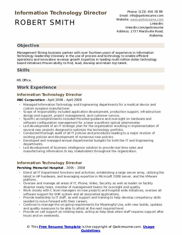 information technology director resume samples qwikresume objectives and goals pdf Resume Information Technology Objectives And Goals Resume