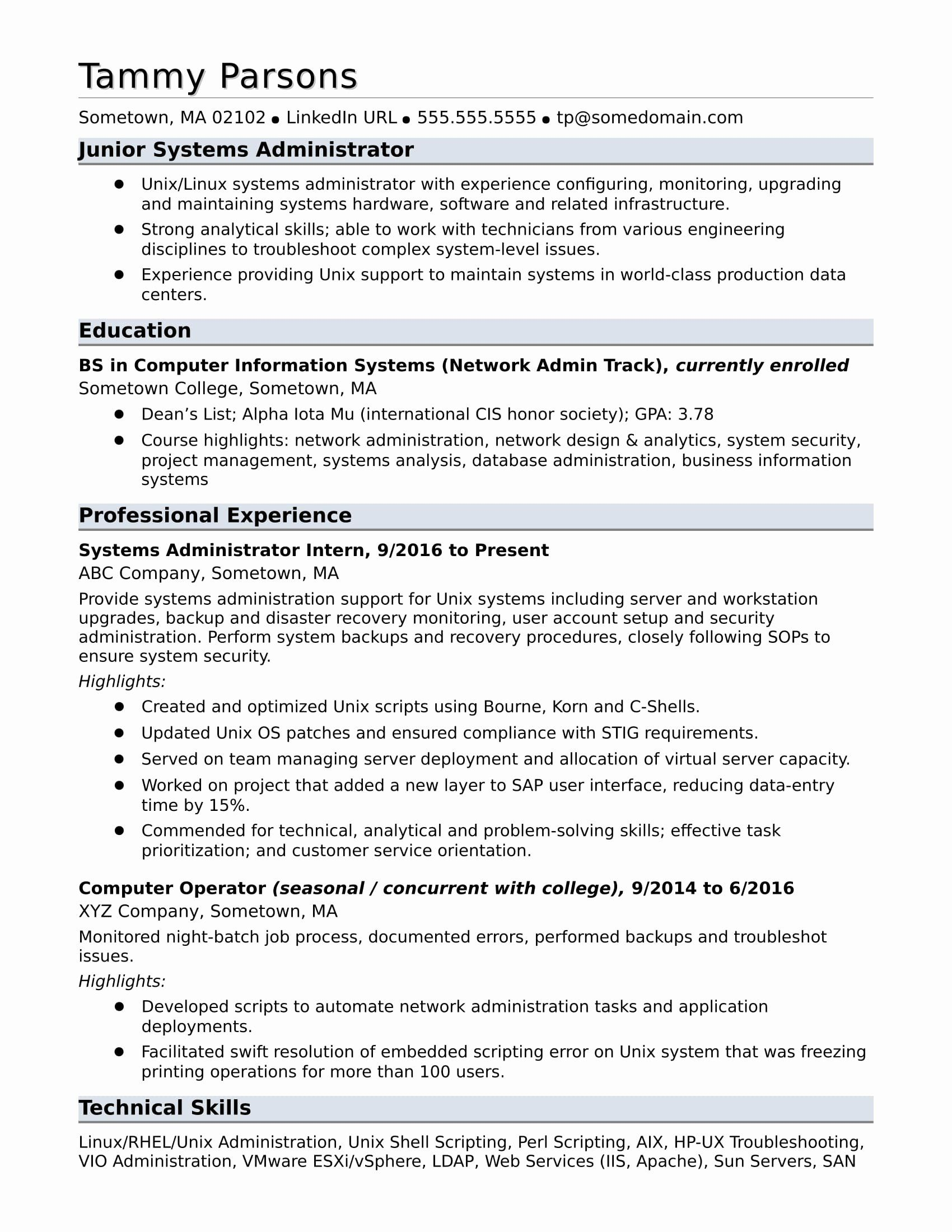 information technology entry level resume lovely sample for an systems administrator in Resume System Administrator Resume Objective