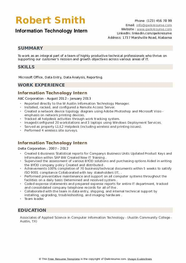 information technology intern resume samples qwikresume objectives and goals pdf loan Resume Information Technology Objectives And Goals Resume
