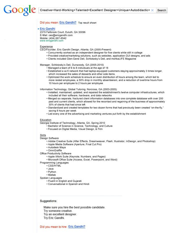 insanely cool resumes that landed interviews at google and other top jobs creative resume Resume Best Resume Search Websites