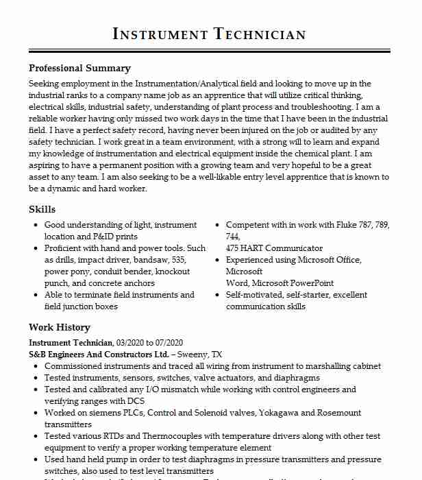 instrument technician resume example general company chula vista sample for elementary Resume Instrument Technician Resume