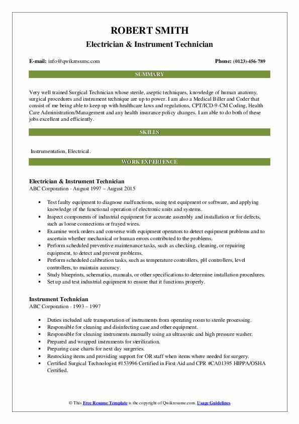 instrument technician resume samples qwikresume pdf builder free with photo federal Resume Instrument Technician Resume