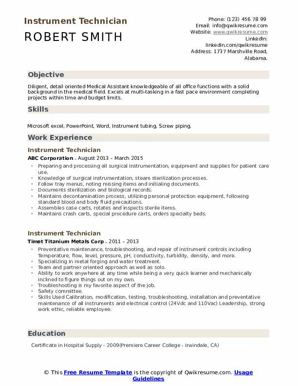 instrument technician resume samples qwikresume pdf examples for maintenance format word Resume Instrument Technician Resume