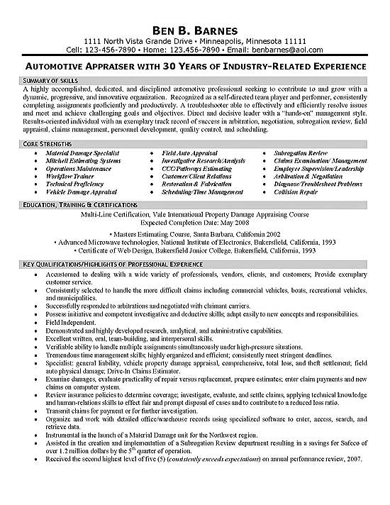 insurance appraiser resume example estate objective sample exfi12a two column Resume Real Estate Appraiser Resume Objective