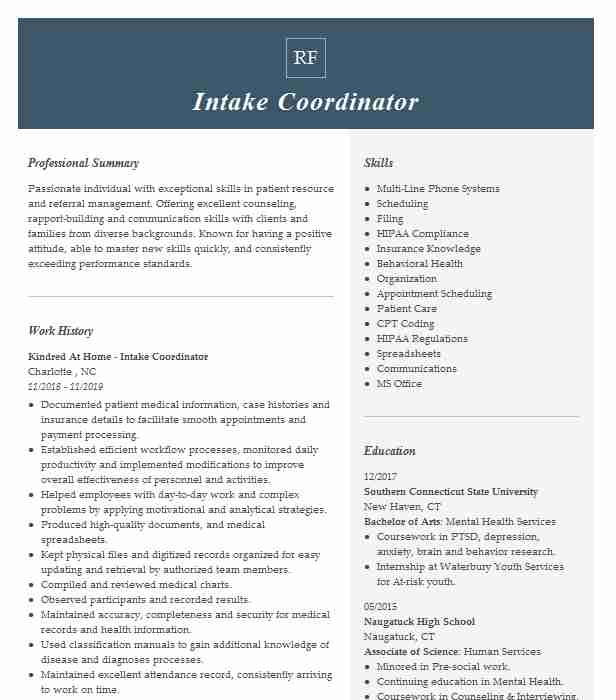 intake coordinator resume example resumes livecareer home health and cover letter digital Resume Home Health Intake Coordinator Resume