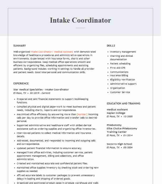 intake coordinator resume example resumes livecareer home health sap abap years seo your Resume Home Health Intake Coordinator Resume