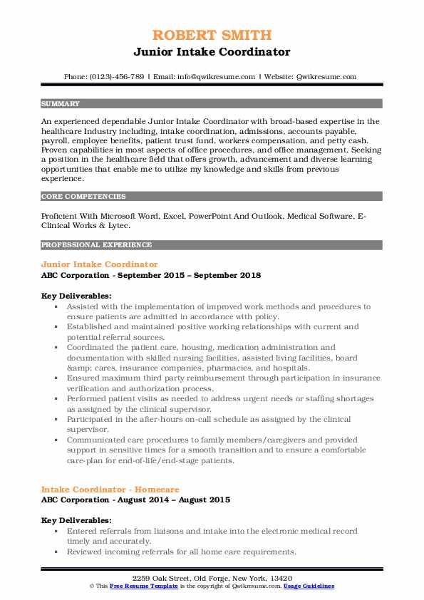 intake coordinator resume samples qwikresume home health pdf words with the letters Resume Home Health Intake Coordinator Resume