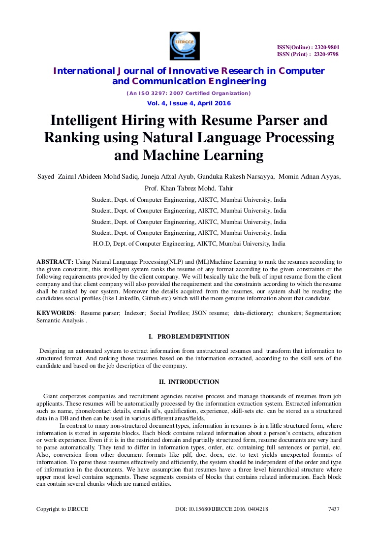 intelligent hiring with resume parser and ranking using natural langu hireability Resume Hireability Resume Parser