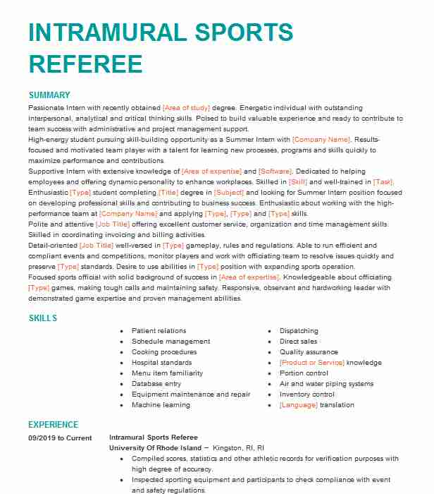 intramural referee resume example cornell sports job description sample format for Resume Referee Job Description Resume