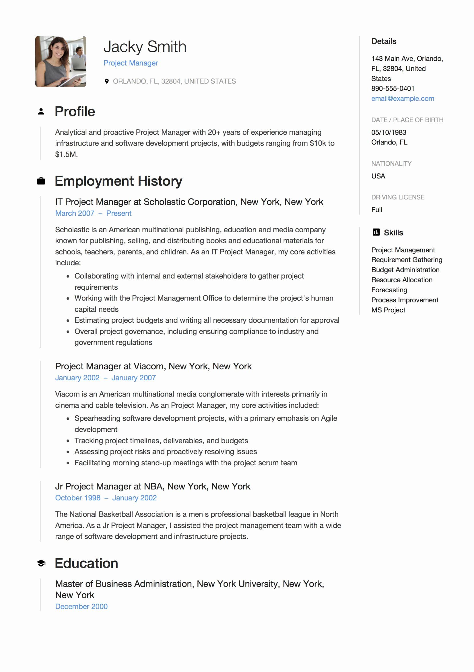 it project manager resume examples new sample free downloads in template best format for Resume Project Manager Resume Examples 2018