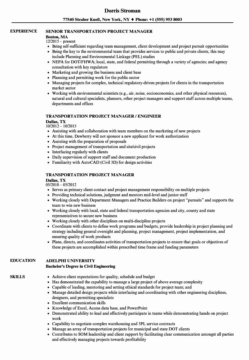 it project manager resume examples unique transportation samples in job signal integrity Resume Transportation Manager Resume