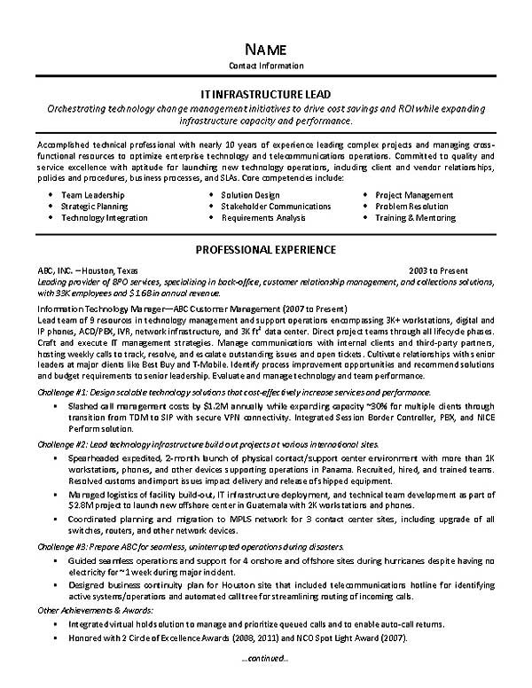 it supervisor resume example objective extec28a simple but effective template universal Resume Supervisor Resume Objective