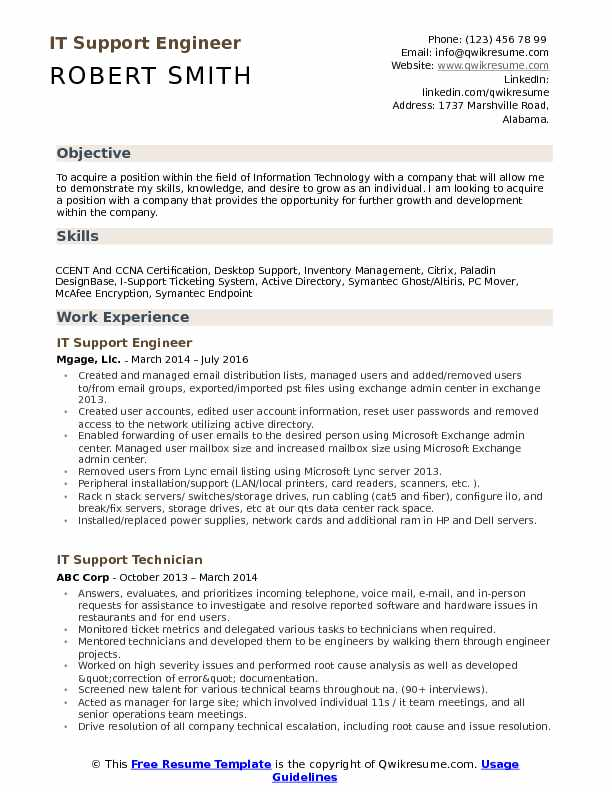 it support engineer resume samples qwikresume information technology objectives and goals Resume Information Technology Objectives And Goals Resume