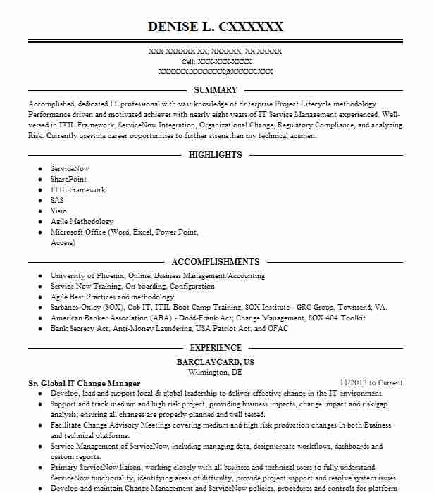 itil change manager resume management pool cleaner critique your coaching template best Resume Change Management Resume