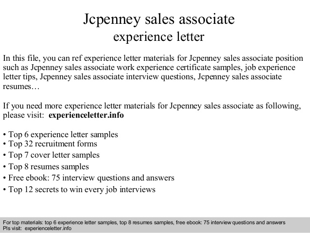 jcpenney associate experience letter resume examples mfa sample personal statement for Resume Jcpenney Resume Examples