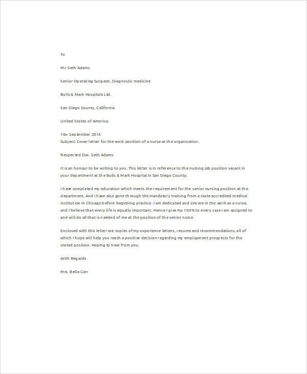 job application letters for nurse free sample example format premium templates cover Resume Cover Letter For Nursing Job Resume
