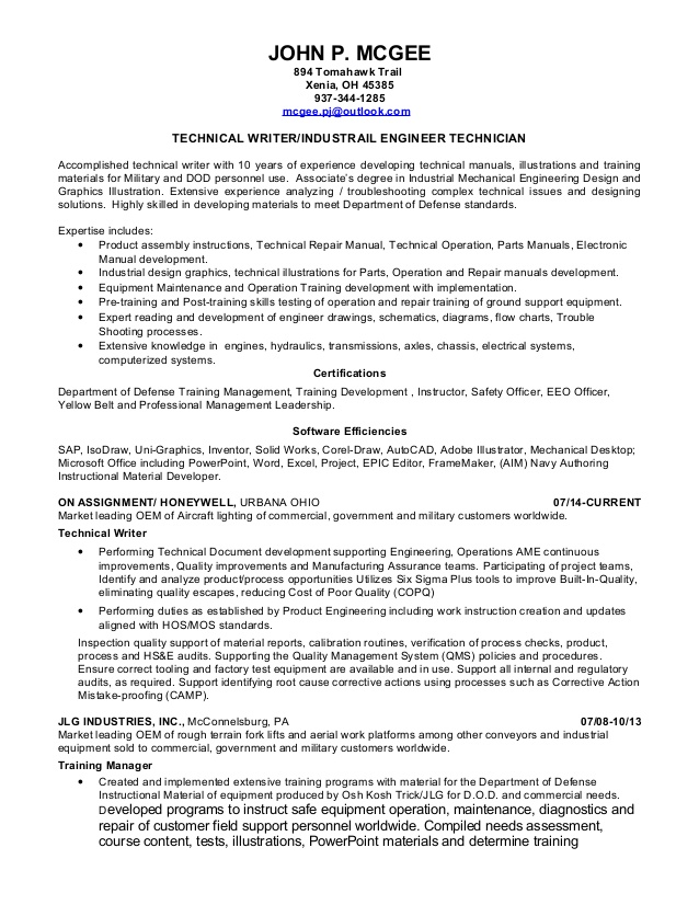 john mcgee resume technical writer samples goals for examples recommendations adobe Resume Technical Writer Resume Samples