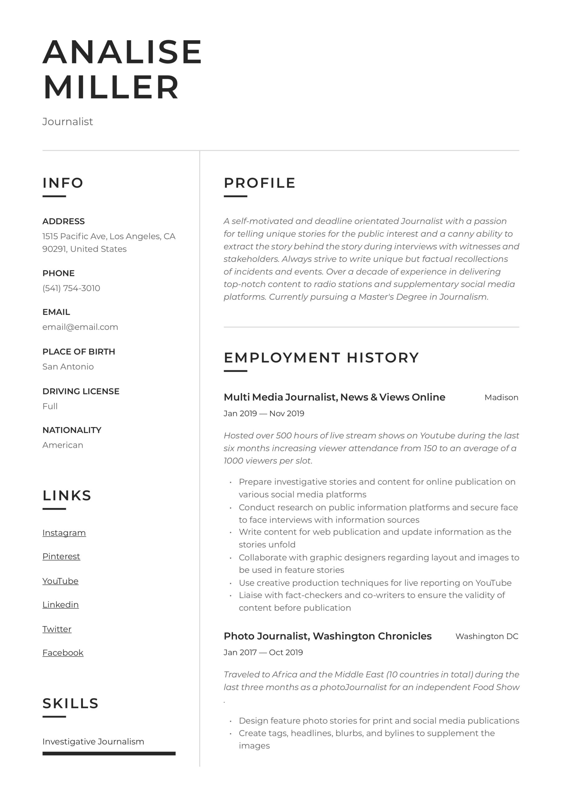 journalist resume writing guide templates journalism skills for caregiver examples coo Resume Journalism Skills For Resume