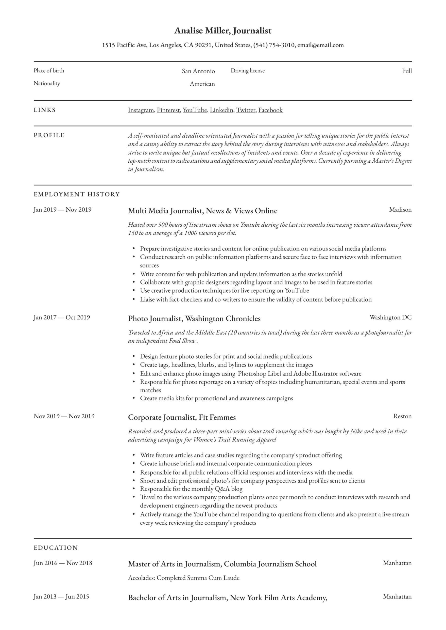 journalist resume writing guide templates self motivated sample simple design objective Resume Self Motivated Resume Sample