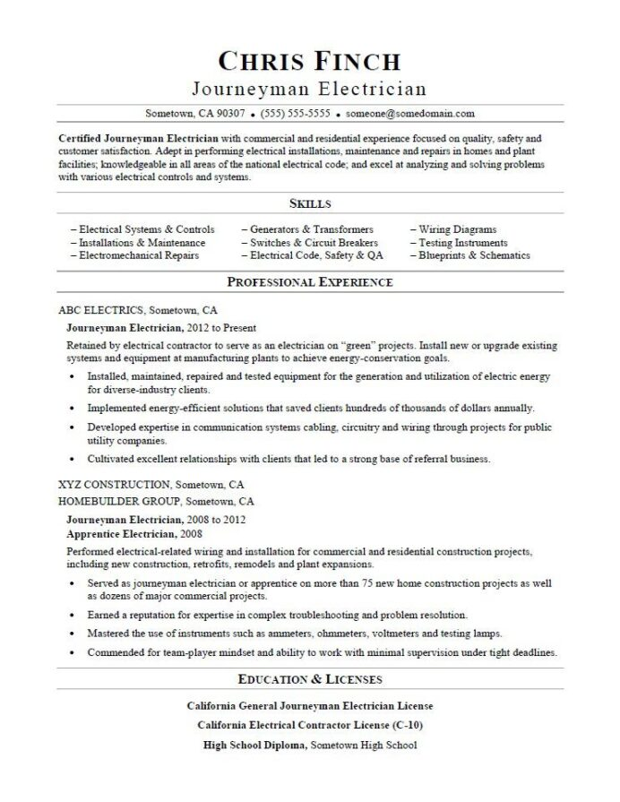journeyman electrician resume sample monster template microsoft word quality checker Resume Electrician Resume Template Microsoft Word