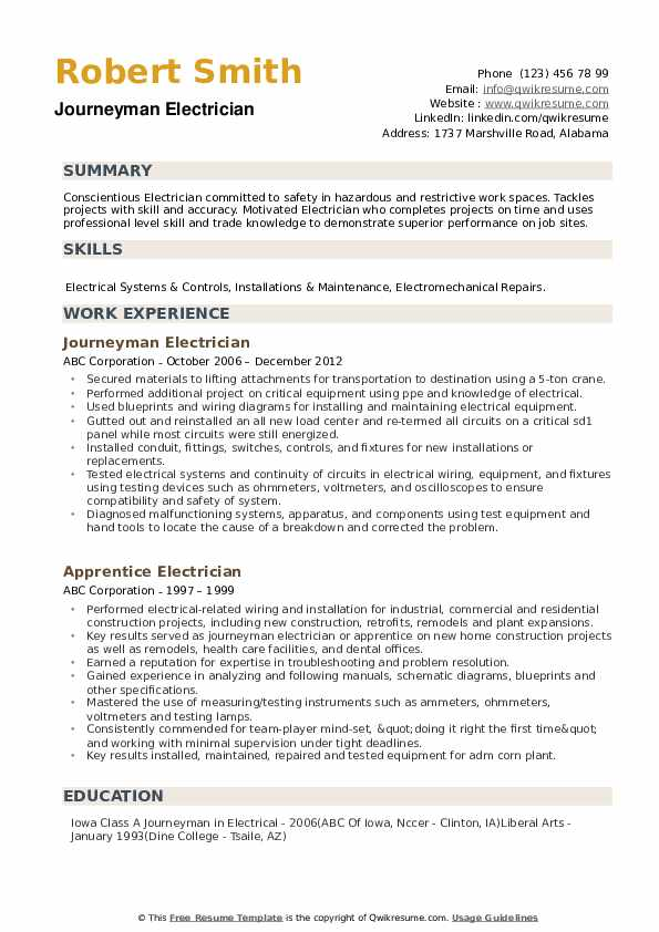 journeyman electrician resume samples qwikresume template microsoft word pdf quality Resume Electrician Resume Template Microsoft Word