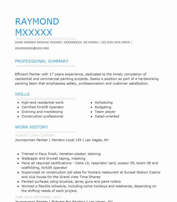 journeyman painter resume example style brothers painting summary for hard worker coco Resume Journeyman Painter Resume