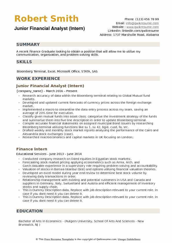 junior financial analyst resume samples qwikresume sample fresh graduate pdf technical Resume Financial Analyst Resume Sample Fresh Graduate
