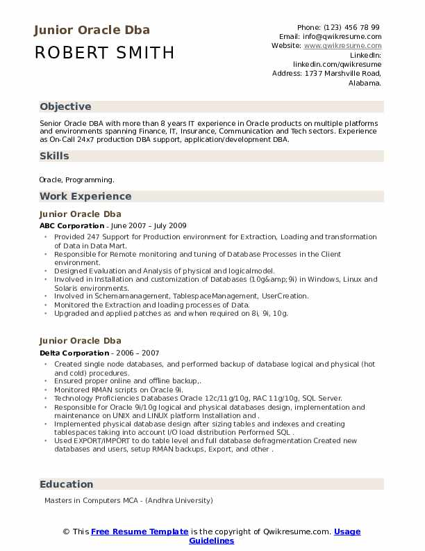 junior oracle resume samples qwikresume entry level pdf firefighter skills for ats test Resume Entry Level Oracle Dba Resume