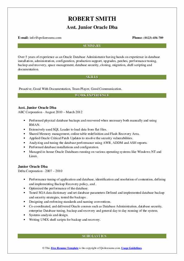 junior oracle resume samples qwikresume entry level pdf high school builder for college Resume Entry Level Oracle Dba Resume