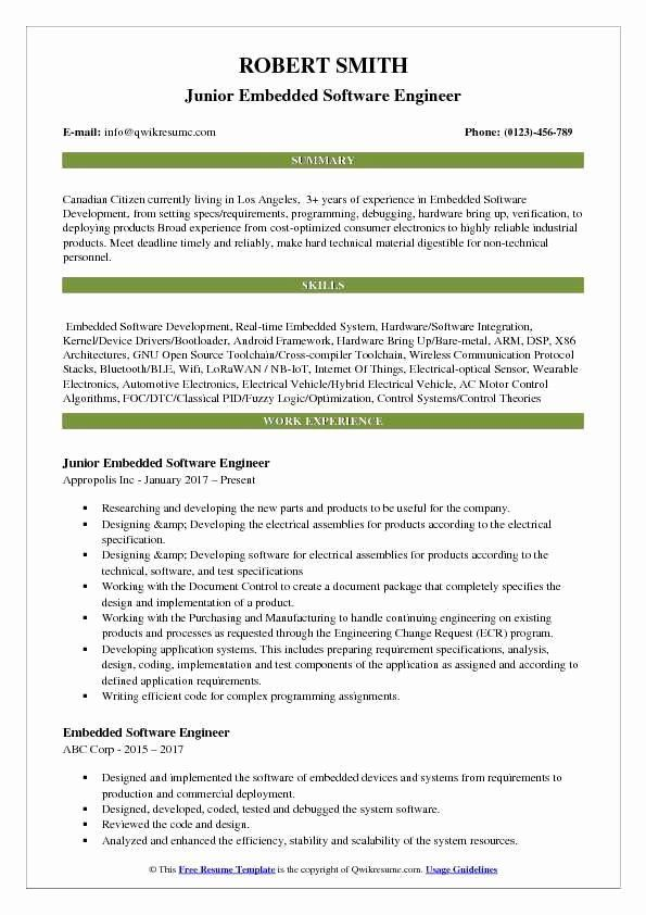 junior software engineer control systems resume sample first job template for summer Resume Control Systems Engineer Resume Sample