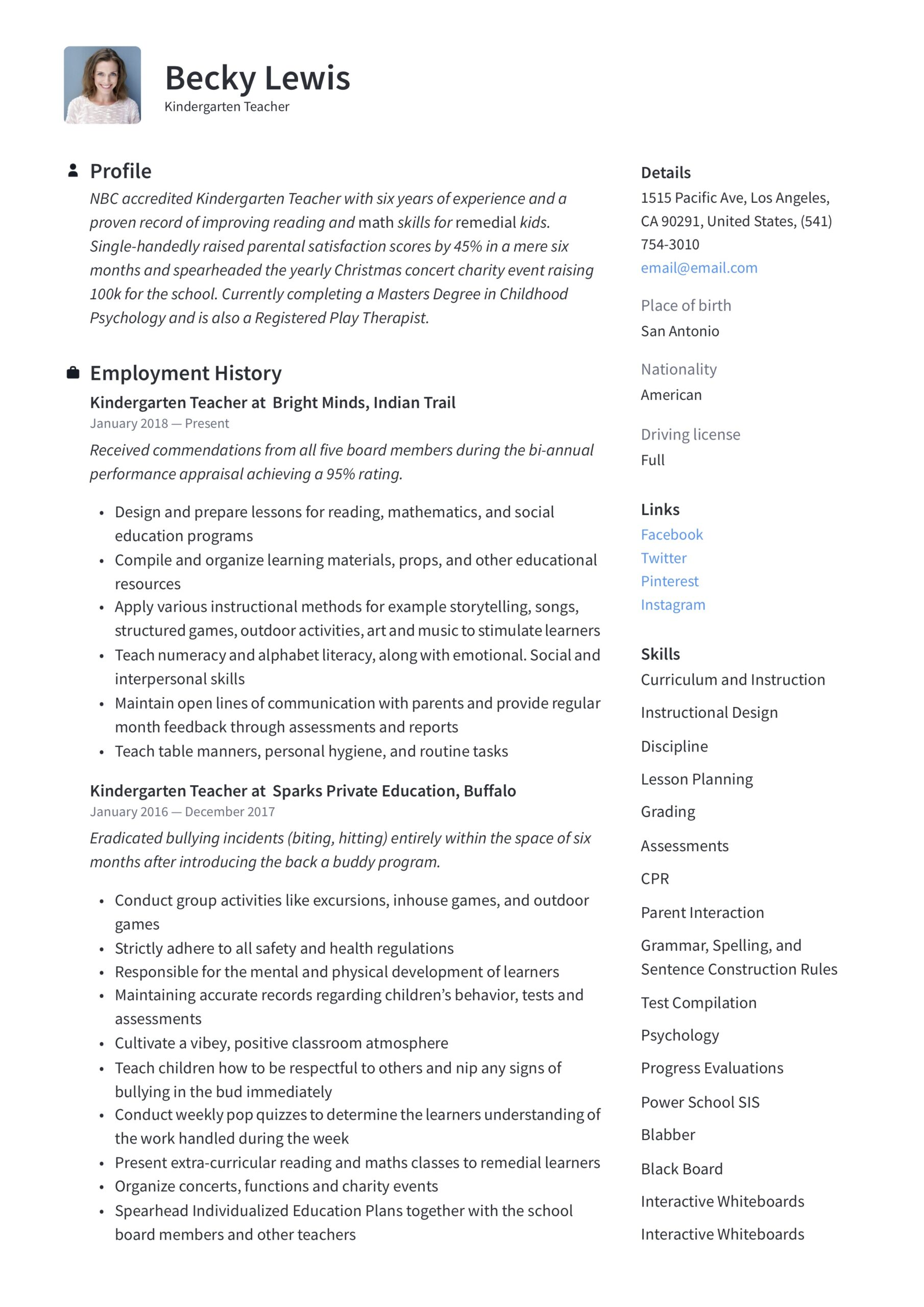 kindergarten teacher resume writing guide examples samples strong qualifications for Resume Kindergarten Resume Samples