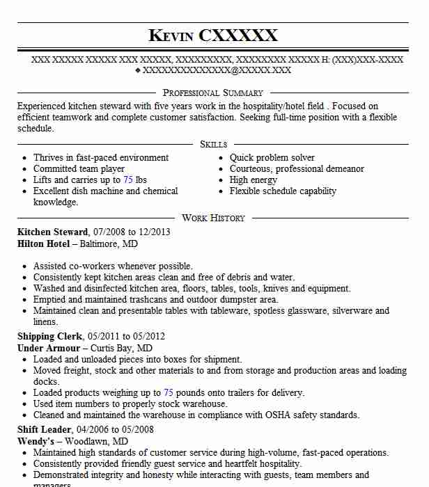 kitchen steward resume example resumes livecareer format for service orchids Resume Resume Format For F&b Service Steward