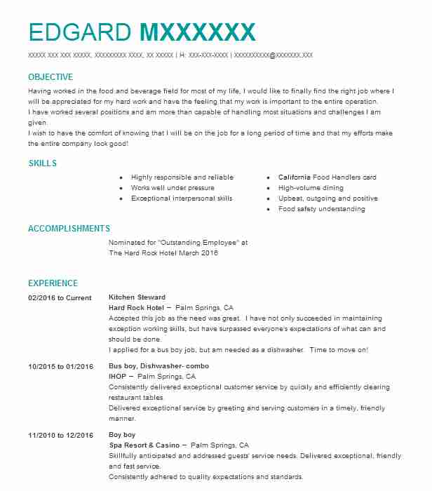 kitchen steward resume example resumes livecareer format for service warehouse template Resume Resume Format For F&b Service Steward