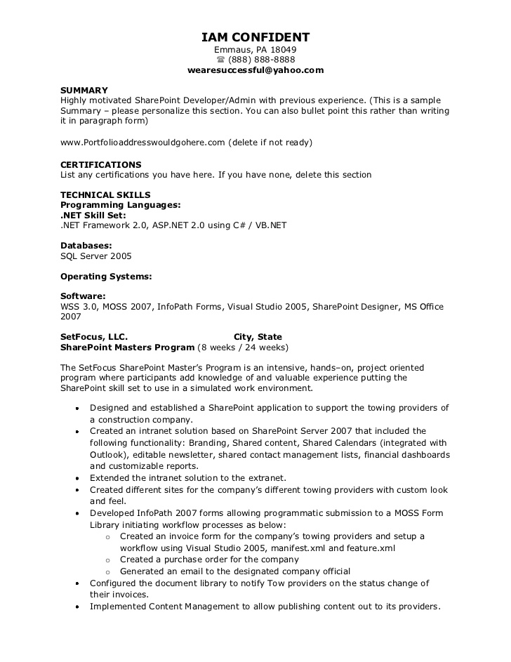 kleimeyer sharepoint resume experience on summary examples entry level accounting pacu Resume Sharepoint Experience On Resume