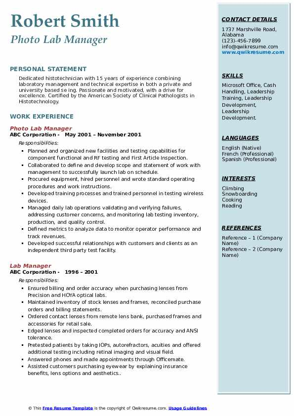 lab manager resume samples qwikresume laboratory pdf bar experience logistics project Resume Laboratory Manager Resume