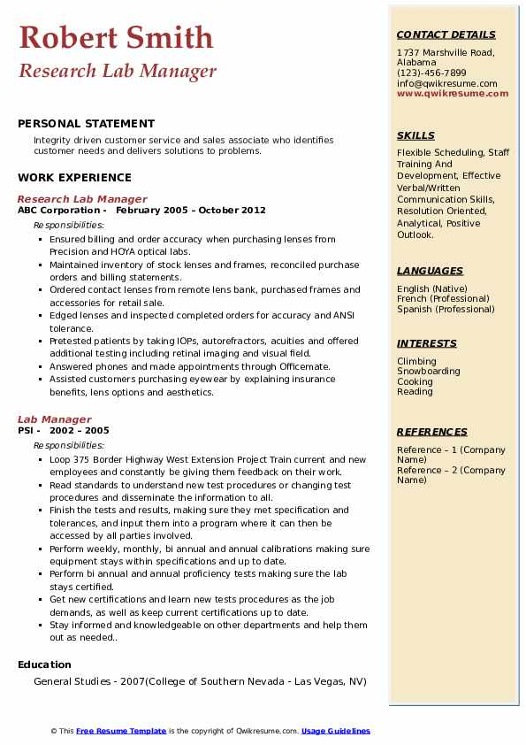 lab manager resume samples qwikresume laboratory pdf project coordinator job area of Resume Laboratory Manager Resume
