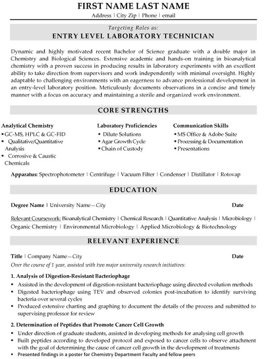 laboratory technician resume sample template research examples entry level excel vba on Resume Research Technician Resume Examples