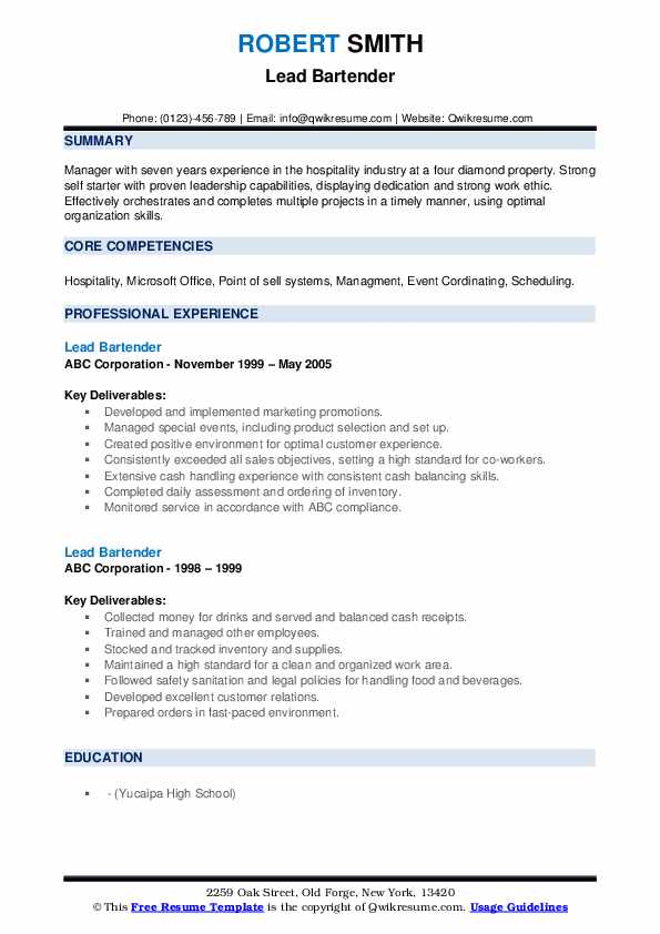 lead bartender resume samples qwikresume skills and qualities pdf need cover letter Resume Bartender Skills And Qualities Resume