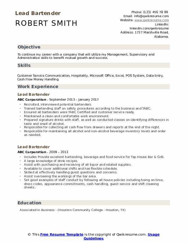 lead bartender resume samples qwikresume skills and qualities pdf please see attached Resume Bartender Skills And Qualities Resume