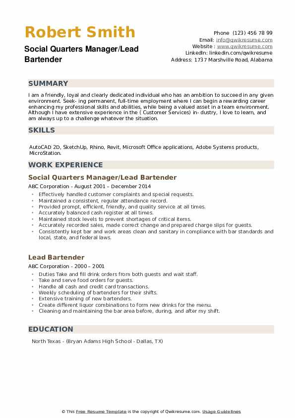 lead bartender resume samples qwikresume skills and qualities pdf writing for hotel Resume Bartender Skills And Qualities Resume