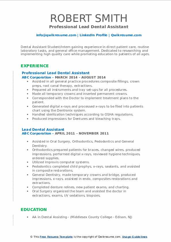 lead dental assistant resume samples qwikresume pdf date format casino host oil and gas Resume Dental Assistant Resume
