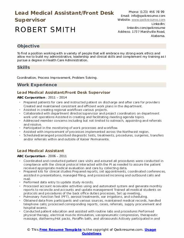 lead medical assistant resume samples qwikresume objective for example pdf sap basis Resume Objective For Medical Assistant Resume Example
