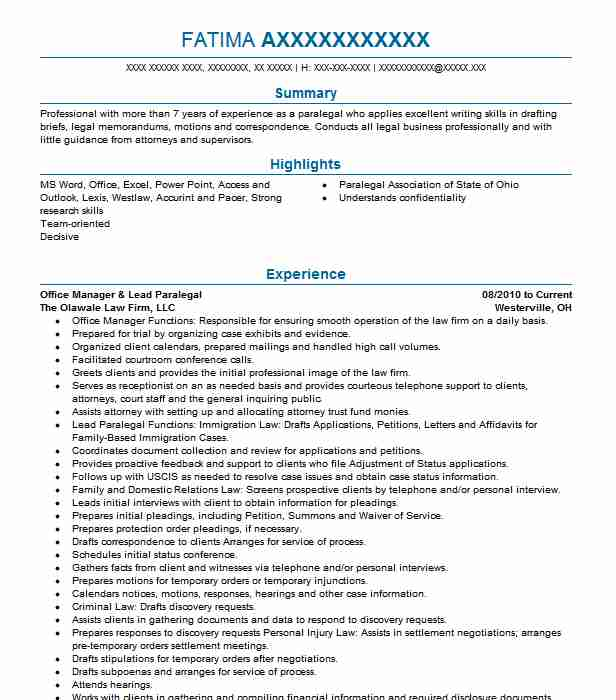 lead paralegal and office manager resume example the law firm legal sample whataburger Resume Legal Manager Resume Sample