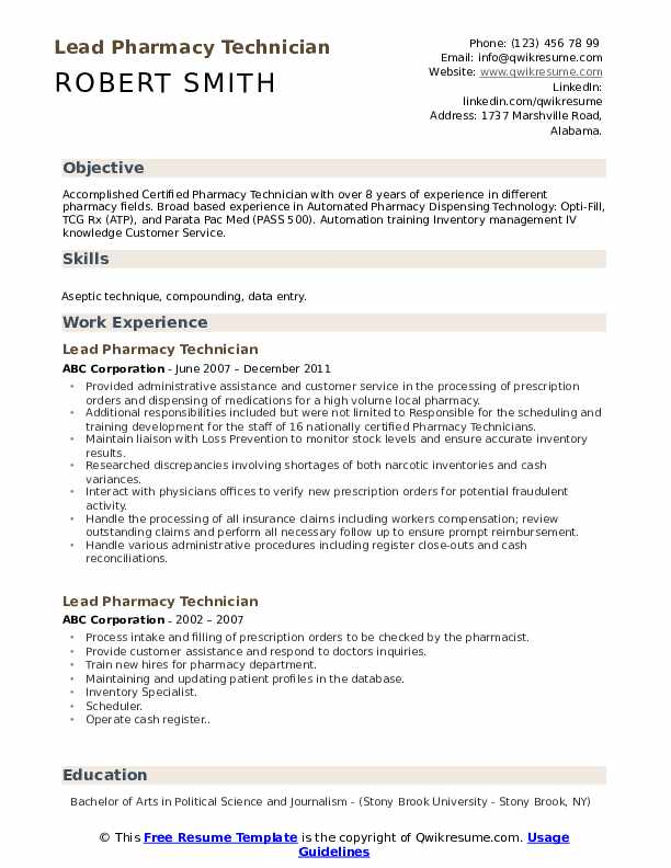 lead pharmacy technician resume samples qwikresume template free pdf police examples for Resume Pharmacy Technician Resume Template Free